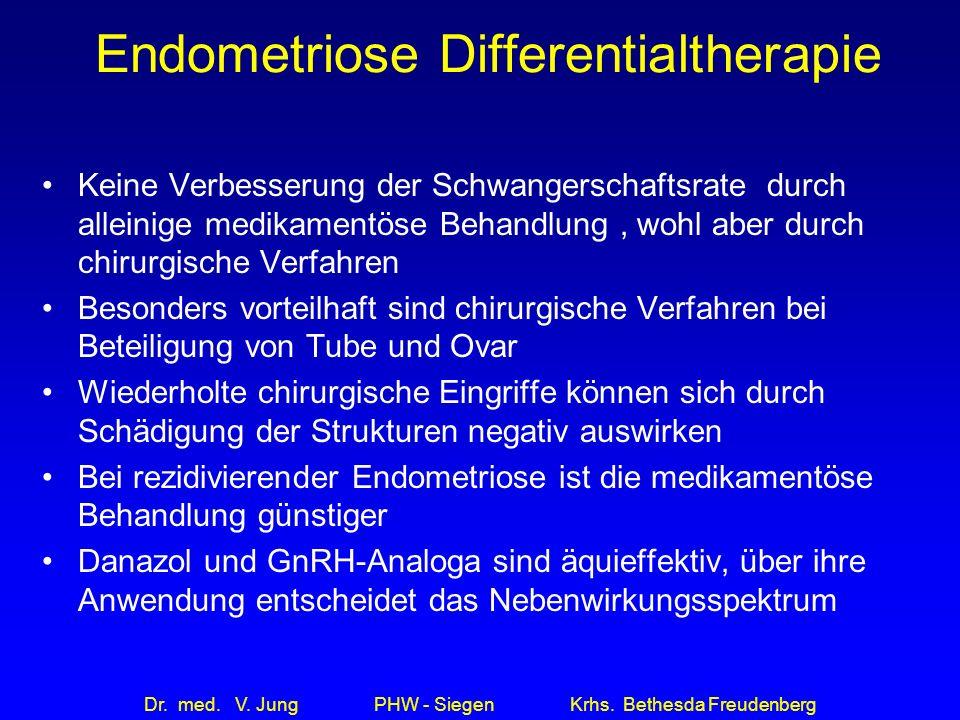 Dr. med. V. Jung PHW - Siegen Krhs. Bethesda Freudenberg Endometriose Differentialtherapie Keine Verbesserung der Schwangerschaftsrate durch alleinige