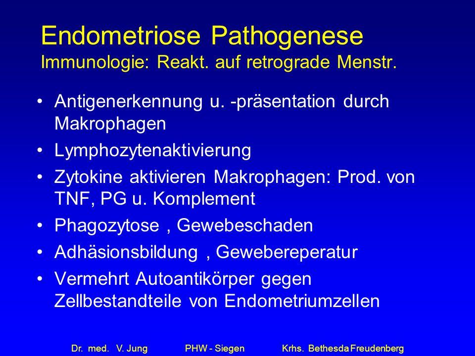 Dr. med. V. Jung PHW - Siegen Krhs. Bethesda Freudenberg Endometriose Pathogenese Immunologie: Reakt. auf retrograde Menstr. Antigenerkennung u. -präs
