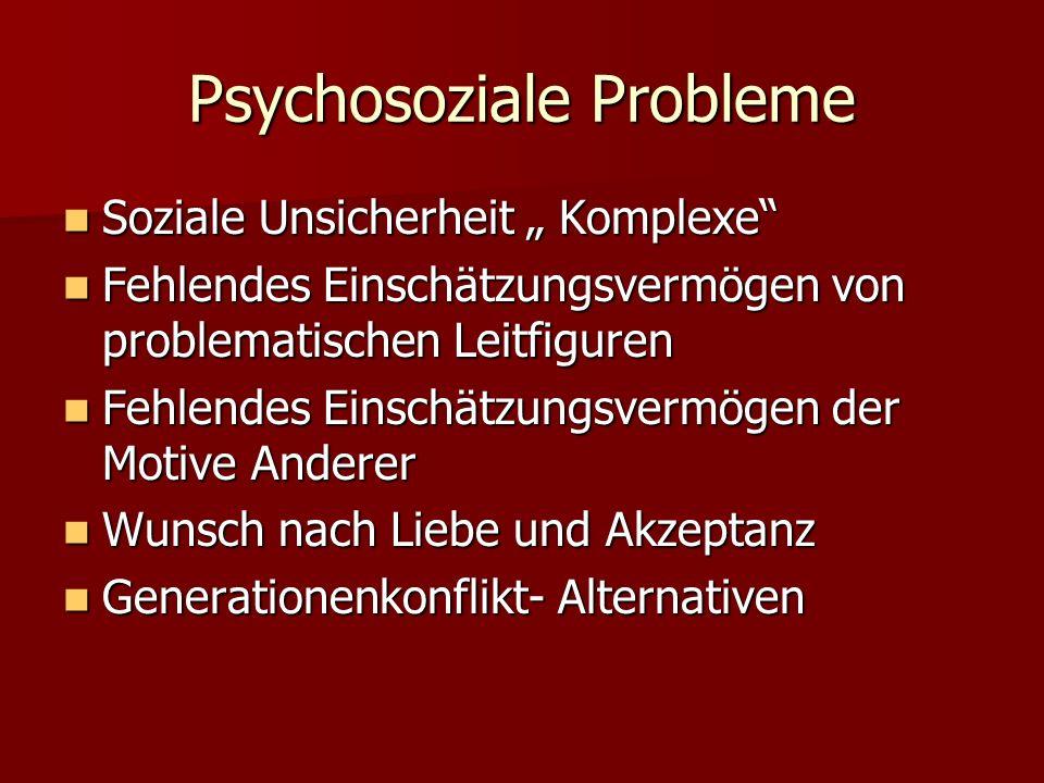 Psychische Faktoren/ Suchtmittel gegen Ängste, Unsicherheiten Ängste, Unsicherheiten Depressionen Depressionen Persönlichkeitsstörungen mit psychischen Folgestörungen - Spannungen Persönlichkeitsstörungen mit psychischen Folgestörungen - Spannungen Psychosoziale Probleme Psychosoziale Probleme