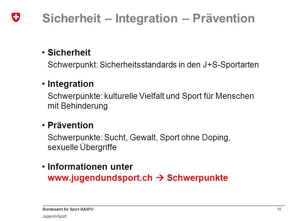 10 Bundesamt für Sport BASPO Jugend+Sport Sicherheit – Integration – Prävention Sicherheit Schwerpunkt: Sicherheitsstandards in den J+S-Sportarten Int