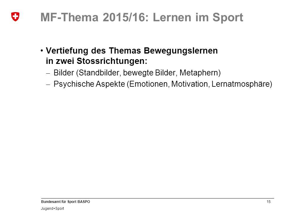 15 Bundesamt für Sport BASPO Jugend+Sport MF-Thema 2015/16: Lernen im Sport Vertiefung des Themas Bewegungslernen in zwei Stossrichtungen: Bilder (Sta