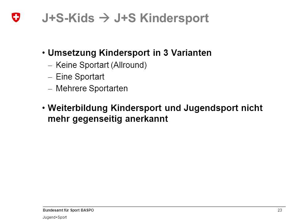 23 Bundesamt für Sport BASPO Jugend+Sport Umsetzung Kindersport in 3 Varianten Keine Sportart (Allround) Eine Sportart Mehrere Sportarten Weiterbildun