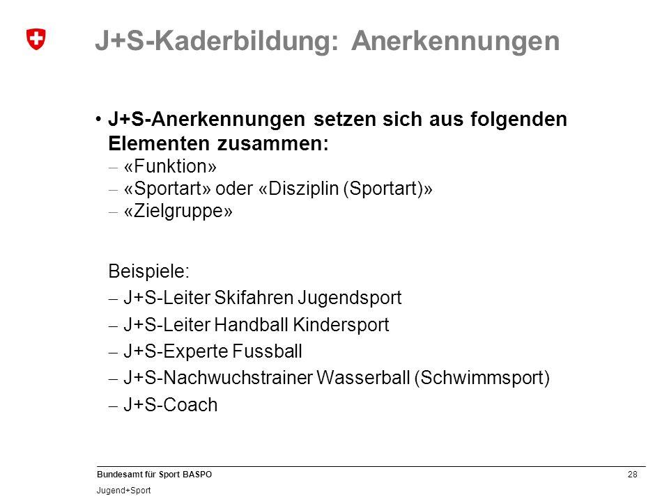 28 Bundesamt für Sport BASPO Jugend+Sport J+S-Anerkennungen setzen sich aus folgenden Elementen zusammen: «Funktion» «Sportart» oder «Disziplin (Sportart)» «Zielgruppe» Beispiele: J+S-Leiter Skifahren Jugendsport J+S-Leiter Handball Kindersport J+S-Experte Fussball J+S-Nachwuchstrainer Wasserball (Schwimmsport) J+S-Coach J+S-Kaderbildung: Anerkennungen