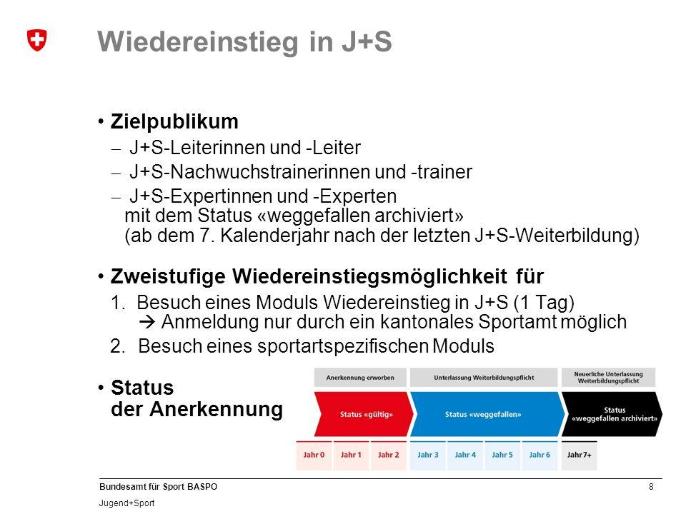 8 Bundesamt für Sport BASPO Jugend+Sport Wiedereinstieg in J+S Zielpublikum J+S-Leiterinnen und -Leiter J+S-Nachwuchstrainerinnen und -trainer J+S-Expertinnen und -Experten mit dem Status «weggefallen archiviert» (ab dem 7.