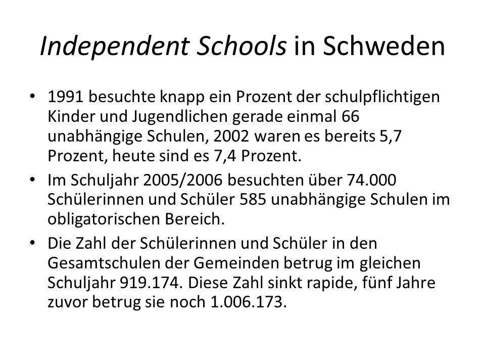 Independent Schools in Schweden 1991 besuchte knapp ein Prozent der schulpflichtigen Kinder und Jugendlichen gerade einmal 66 unabhängige Schulen, 200