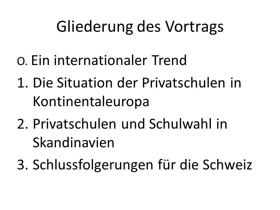 Gliederung des Vortrags O. Ein internationaler Trend 1.Die Situation der Privatschulen in Kontinentaleuropa 2.Privatschulen und Schulwahl in Skandinav