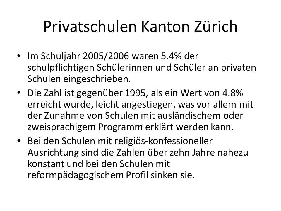 Privatschulen Kanton Zürich Im Schuljahr 2005/2006 waren 5.4% der schulpflichtigen Schülerinnen und Schüler an privaten Schulen eingeschrieben. Die Za