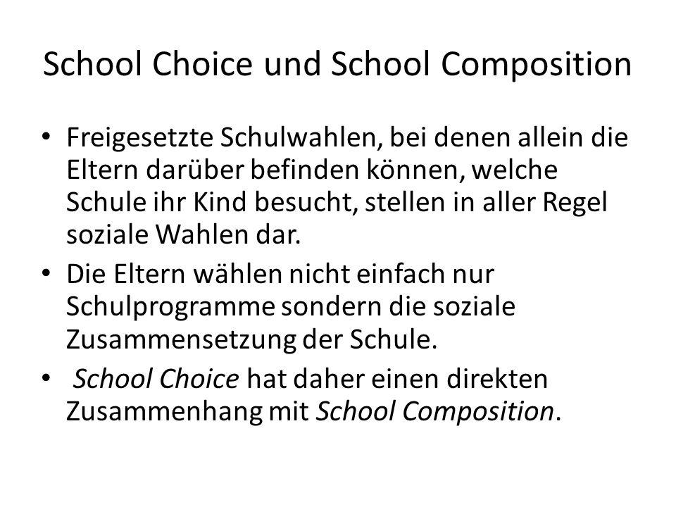 School Choice und School Composition Freigesetzte Schulwahlen, bei denen allein die Eltern darüber befinden können, welche Schule ihr Kind besucht, st