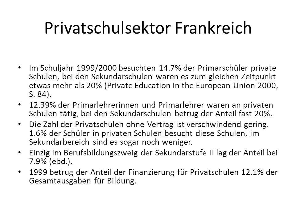 Privatschulsektor Frankreich Im Schuljahr 1999/2000 besuchten 14.7% der Primarschüler private Schulen, bei den Sekundarschulen waren es zum gleichen Z
