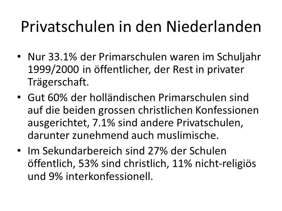 Privatschulen in den Niederlanden Nur 33.1% der Primarschulen waren im Schuljahr 1999/2000 in öffentlicher, der Rest in privater Trägerschaft. Gut 60%