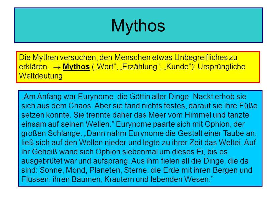 Mythos Die Mythen versuchen, den Menschen etwas Unbegreifliches zu erklären. Mythos (Wort, Erzählung, Kunde): Ursprüngliche Weltdeutung Am Anfang war