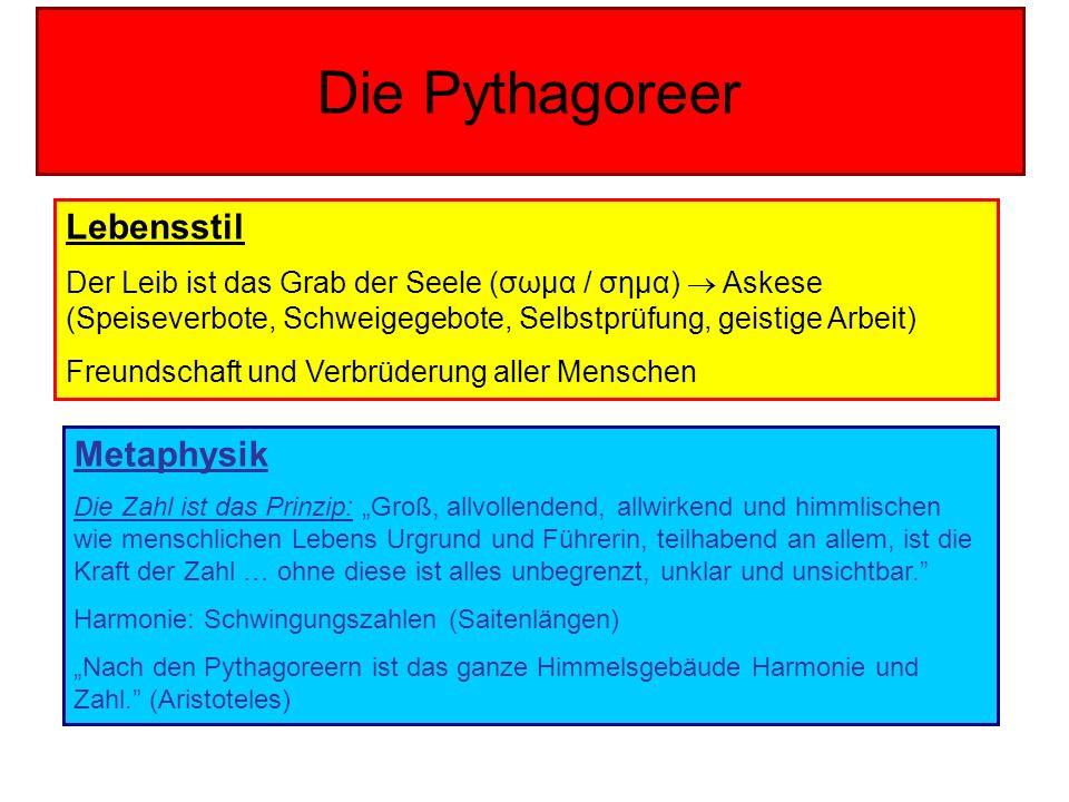 Die Pythagoreer Lebensstil Der Leib ist das Grab der Seele (σωμα / σημα) Askese (Speiseverbote, Schweigegebote, Selbstprüfung, geistige Arbeit) Freund