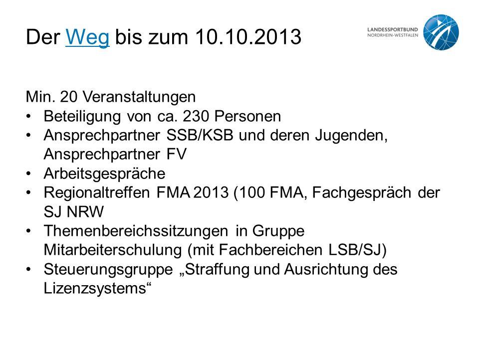 Der Weg bis zum 10.10.2013Weg Min. 20 Veranstaltungen Beteiligung von ca. 230 Personen Ansprechpartner SSB/KSB und deren Jugenden, Ansprechpartner FV