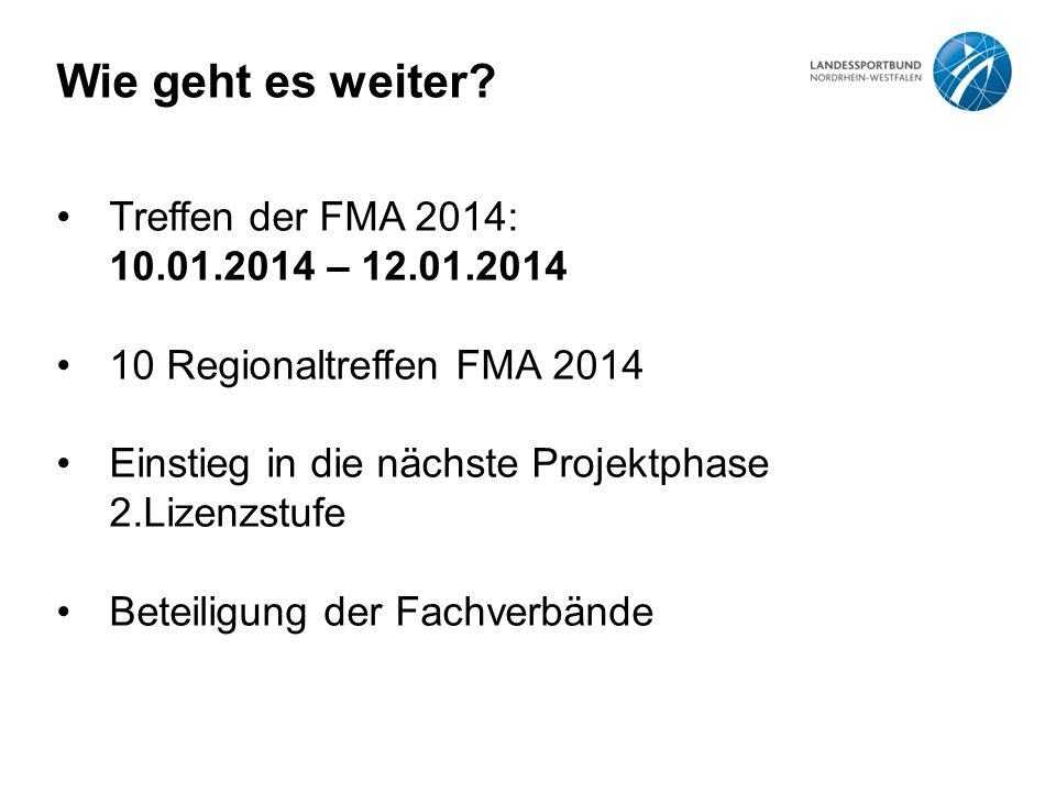 Wie geht es weiter? Treffen der FMA 2014: 10.01.2014 – 12.01.2014 10 Regionaltreffen FMA 2014 Einstieg in die nächste Projektphase 2.Lizenzstufe Betei