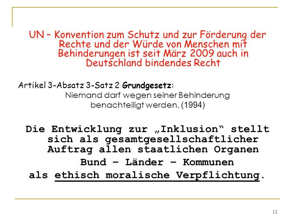 12 UN – Konvention zum Schutz und zur Förderung der Rechte und der Würde von Menschen mit Behinderungen ist seit März 2009 auch in Deutschland bindend