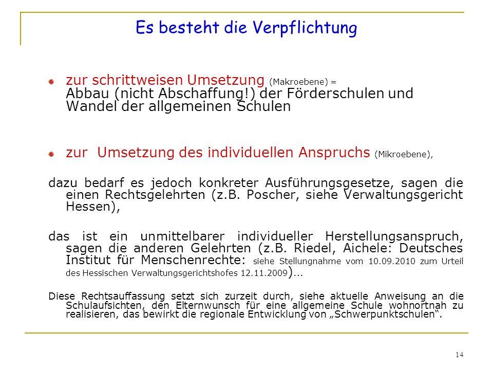 14 Es besteht die Verpflichtung zur schrittweisen Umsetzung (Makroebene) = Abbau (nicht Abschaffung!) der Förderschulen und Wandel der allgemeinen Sch
