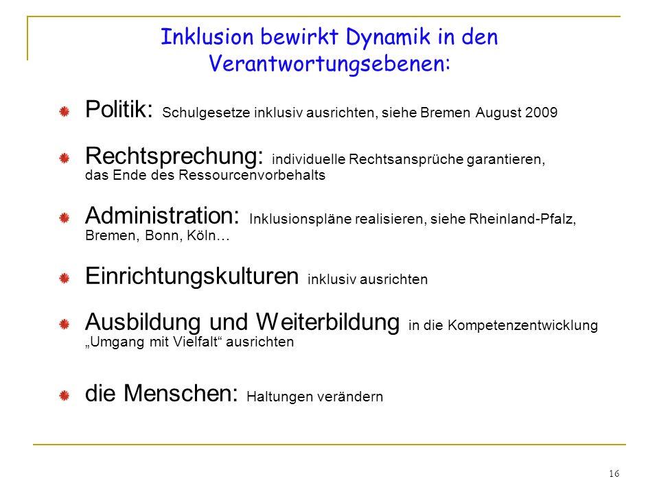 16 Inklusion bewirkt Dynamik in den Verantwortungsebenen: Politik: Schulgesetze inklusiv ausrichten, siehe Bremen August 2009 Rechtsprechung: individu