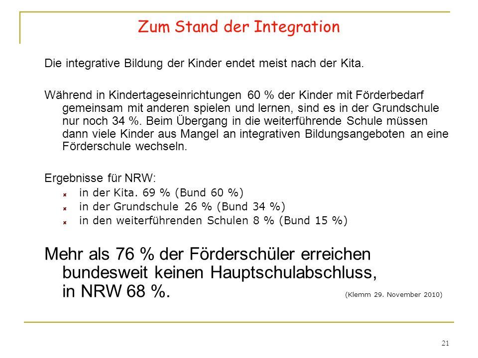 21 Zum Stand der Integration Die integrative Bildung der Kinder endet meist nach der Kita. Während in Kindertageseinrichtungen 60 % der Kinder mit För