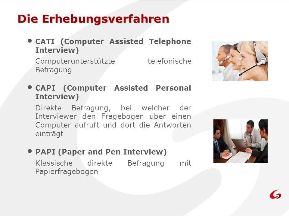 Die Erhebungsverfahren CATI (Computer Assisted Telephone Interview) Computerunterstützte telefonische Befragung CAPI (Computer Assisted Personal Inter