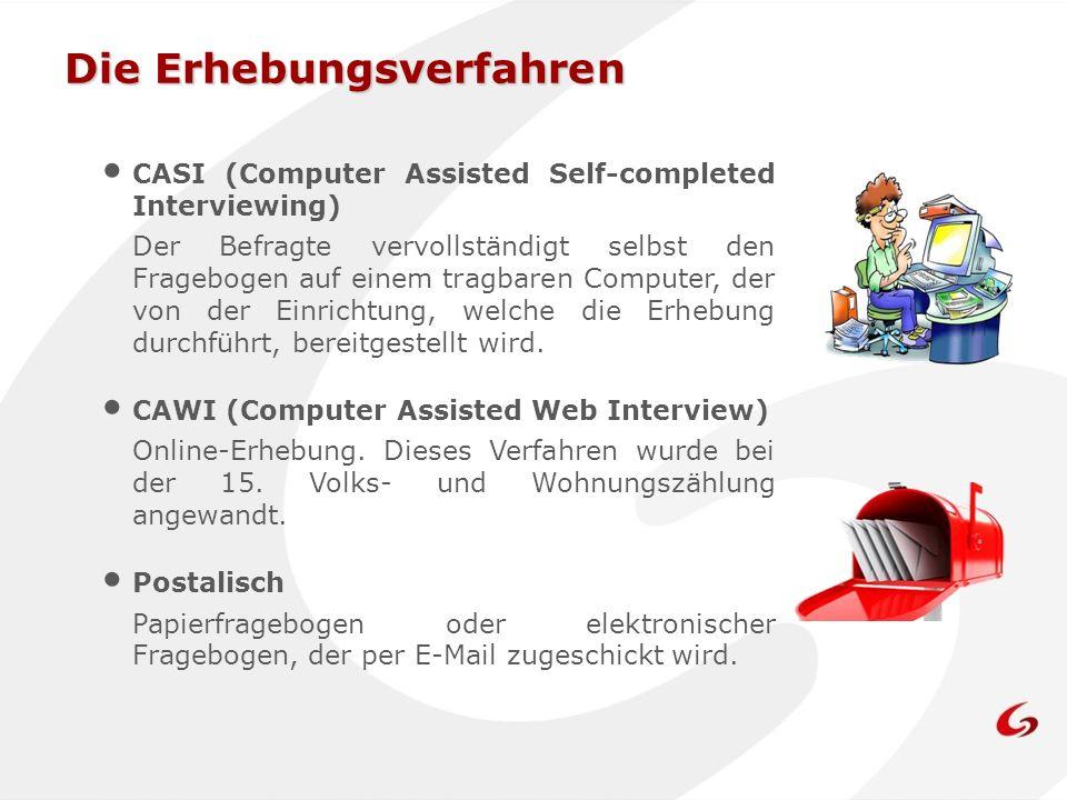 Die Erhebungsverfahren CASI (Computer Assisted Self-completed Interviewing) Der Befragte vervollständigt selbst den Fragebogen auf einem tragbaren Com