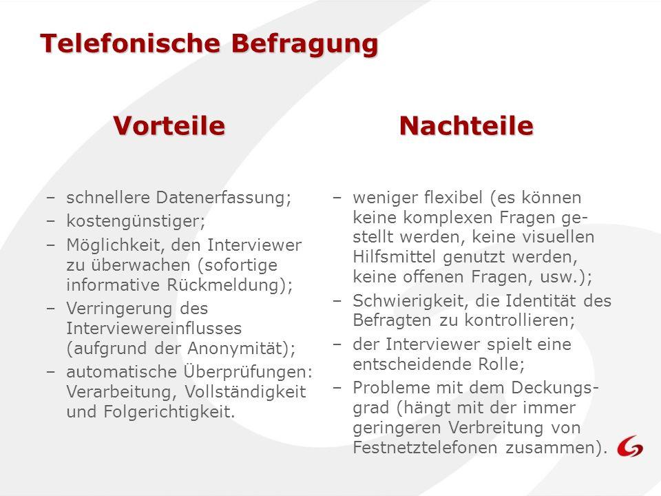 –schnellere Datenerfassung; –kostengünstiger; –Möglichkeit, den Interviewer zu überwachen (sofortige informative Rückmeldung); –Verringerung des Inter