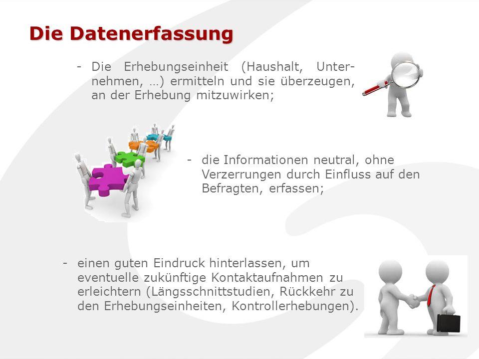 Die Datenerfassung -Die Erhebungseinheit (Haushalt, Unter- nehmen, …) ermitteln und sie überzeugen, an der Erhebung mitzuwirken; -die Informationen ne