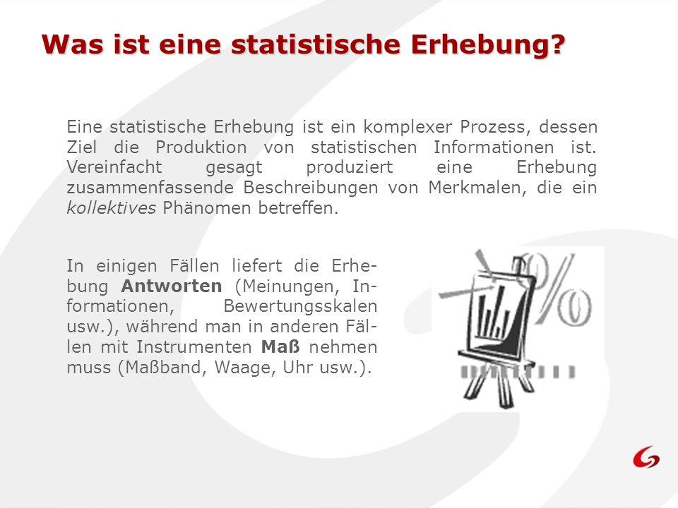 Was ist eine statistische Erhebung? Eine statistische Erhebung ist ein komplexer Prozess, dessen Ziel die Produktion von statistischen Informationen i