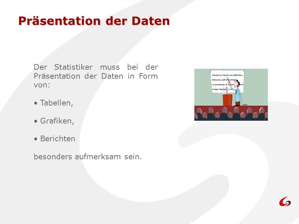 Präsentation der Daten Der Statistiker muss bei der Präsentation der Daten in Form von: Tabellen, Grafiken, Berichten besonders aufmerksam sein.
