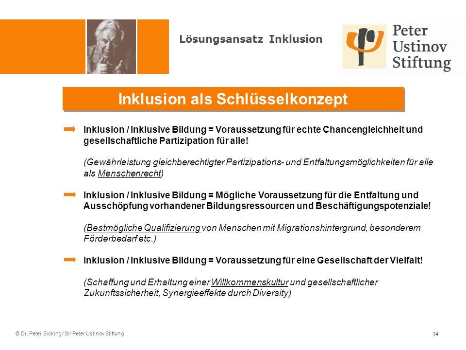 © Dr. Peter Sicking / Sir Peter Ustinov Stiftung Inklusion als Schlüsselkonzept Lösungsansatz Inklusion Inklusion / Inklusive Bildung = Voraussetzung