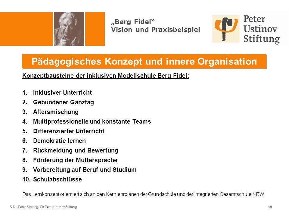 © Dr. Peter Sicking / Sir Peter Ustinov Stiftung Pädagogisches Konzept und innere Organisation 18 Konzeptbausteine der inklusiven Modellschule Berg Fi