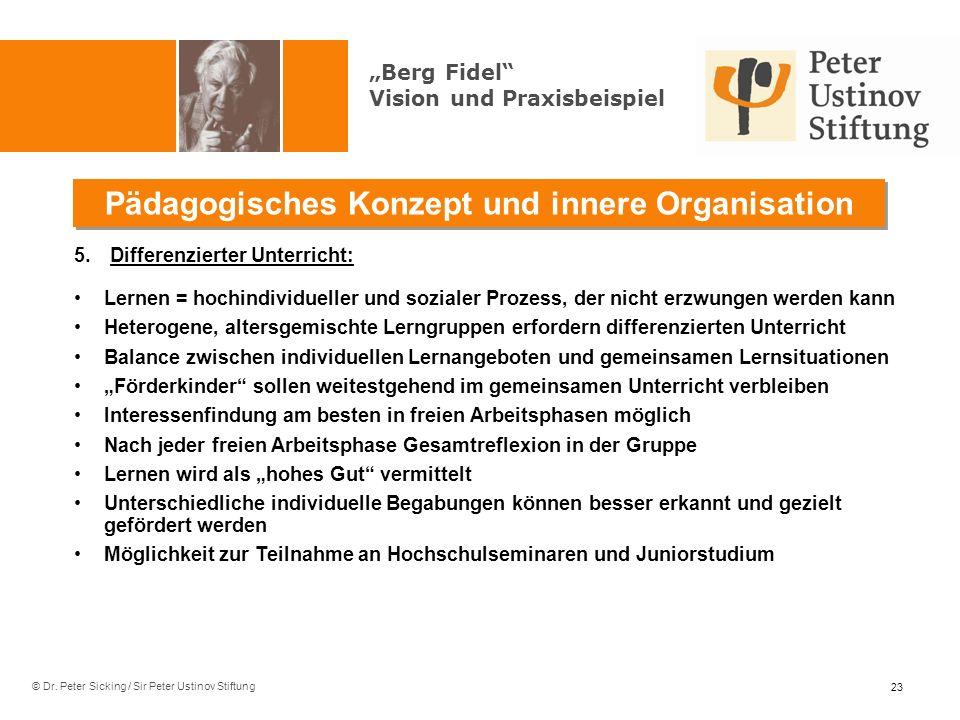 © Dr. Peter Sicking / Sir Peter Ustinov Stiftung Pädagogisches Konzept und innere Organisation 23 5.Differenzierter Unterricht: Lernen = hochindividue