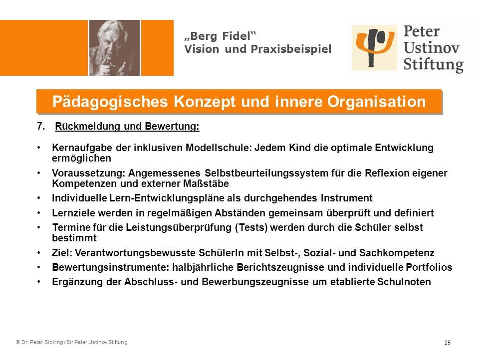 © Dr. Peter Sicking / Sir Peter Ustinov Stiftung Pädagogisches Konzept und innere Organisation 25 7.Rückmeldung und Bewertung: Kernaufgabe der inklusi
