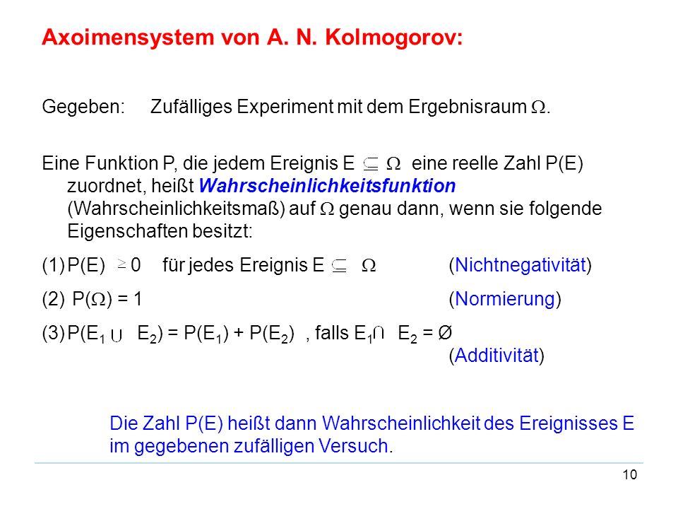 10 Axoimensystem von A. N. Kolmogorov: Gegeben: Zufälliges Experiment mit dem Ergebnisraum. Eine Funktion P, die jedem Ereignis E eine reelle Zahl P(E