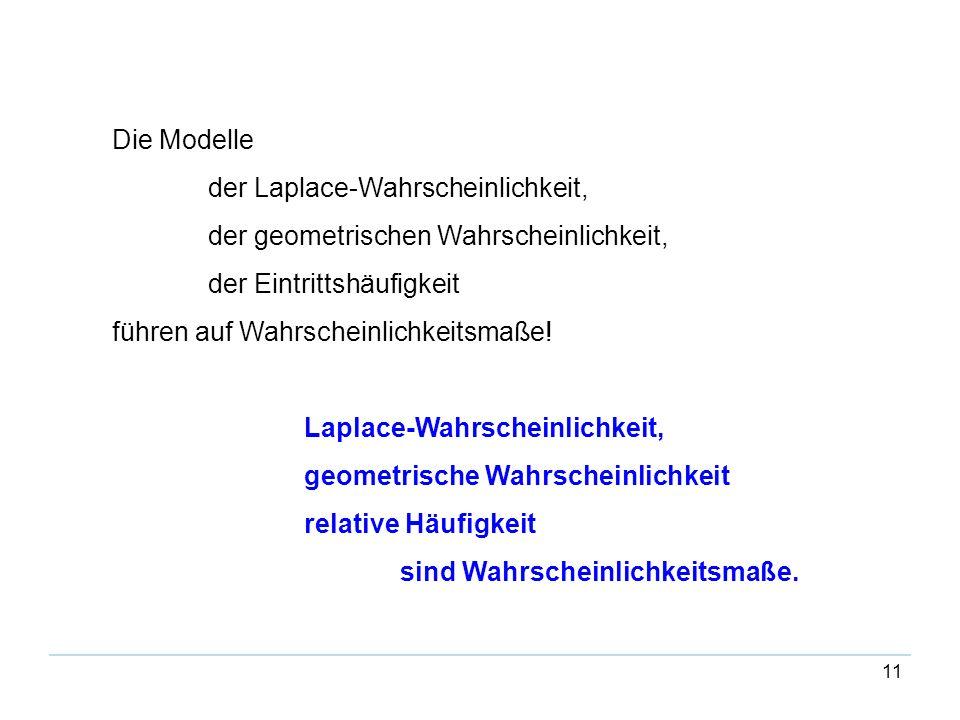11 Die Modelle der Laplace-Wahrscheinlichkeit, der geometrischen Wahrscheinlichkeit, der Eintrittshäufigkeit führen auf Wahrscheinlichkeitsmaße! Lapla