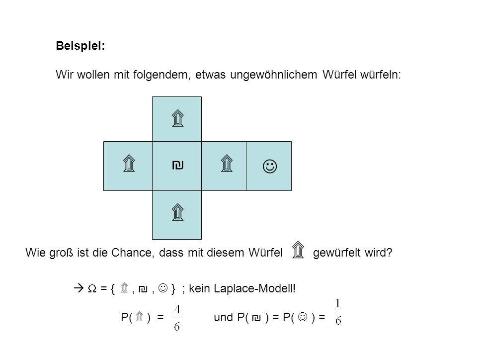 Beispiel: Wir wollen mit folgendem, etwas ungewöhnlichem Würfel würfeln: Wie groß ist die Chance, dass mit diesem Würfel gewürfelt wird? = { ۩,, } ; k