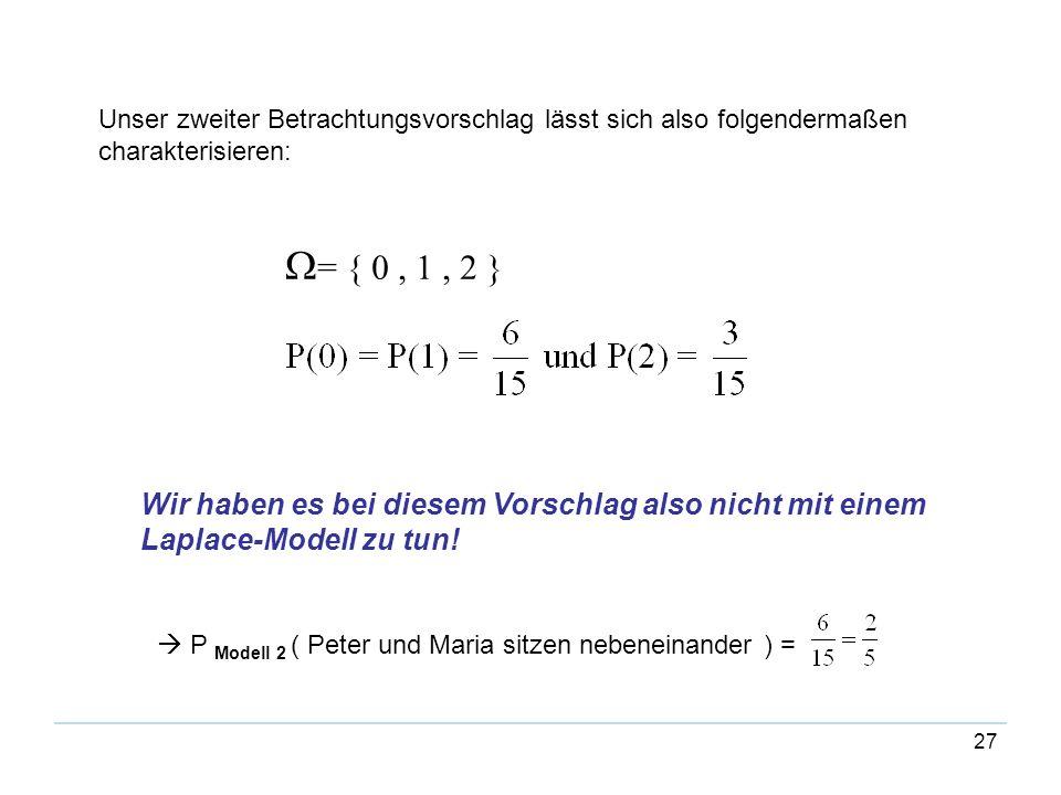 27 Unser zweiter Betrachtungsvorschlag lässt sich also folgendermaßen charakterisieren: = { 0, 1, 2 } Wir haben es bei diesem Vorschlag also nicht mit