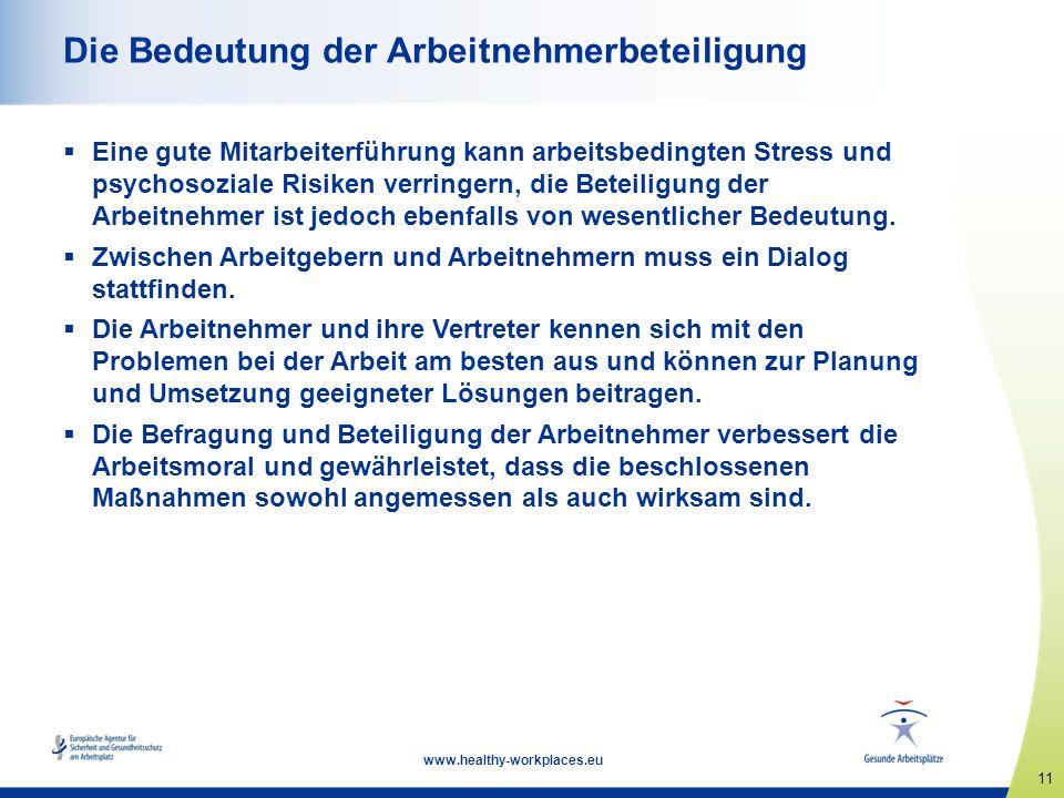 11 www.healthy-workplaces.eu Die Bedeutung der Arbeitnehmerbeteiligung Eine gute Mitarbeiterführung kann arbeitsbedingten Stress und psychosoziale Risiken verringern, die Beteiligung der Arbeitnehmer ist jedoch ebenfalls von wesentlicher Bedeutung.
