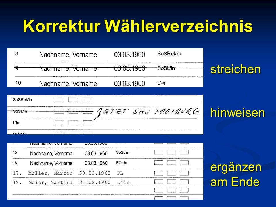 Korrektur Wählerverzeichnis streichen hinweisen ergänzen am Ende