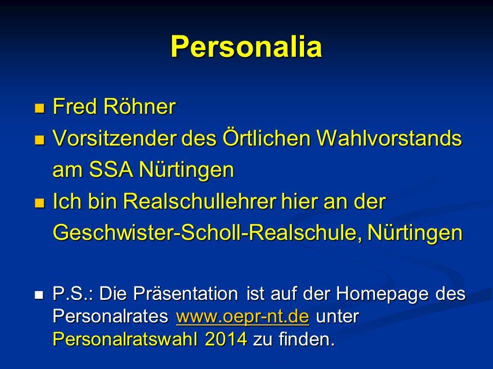 Personalia Fred Röhner Fred Röhner Vorsitzender des Örtlichen Wahlvorstands Vorsitzender des Örtlichen Wahlvorstands am SSA Nürtingen Ich bin Realschu