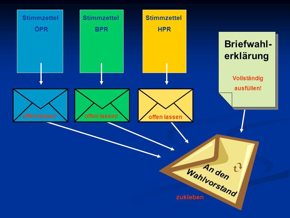 An den Wahlvorstand Briefwahl- erklärung Vollständig ausfüllen! Stimmzettel ÖPR Stimmzettel BPR Stimmzettel HPR zukleben offen lassen
