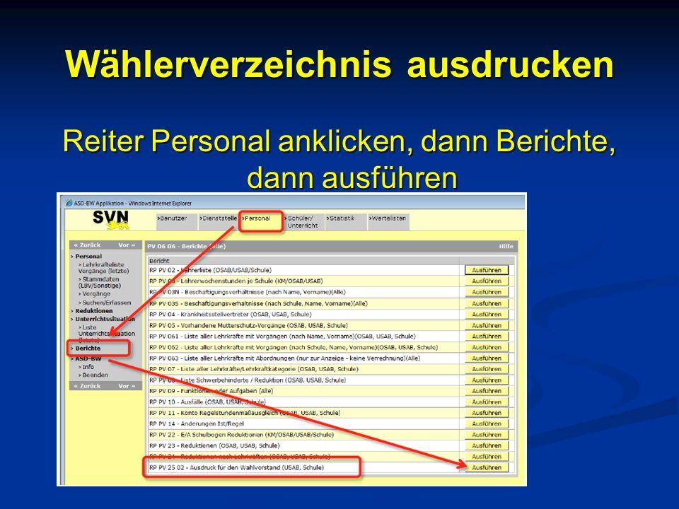 Wählerverzeichnis ausdrucken Reiter Personal anklicken, dann Berichte, dann ausführen