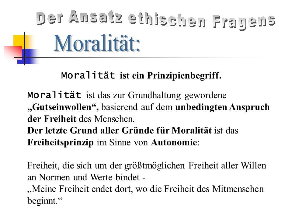 Moralität ist ein Prinzipienbegriff.