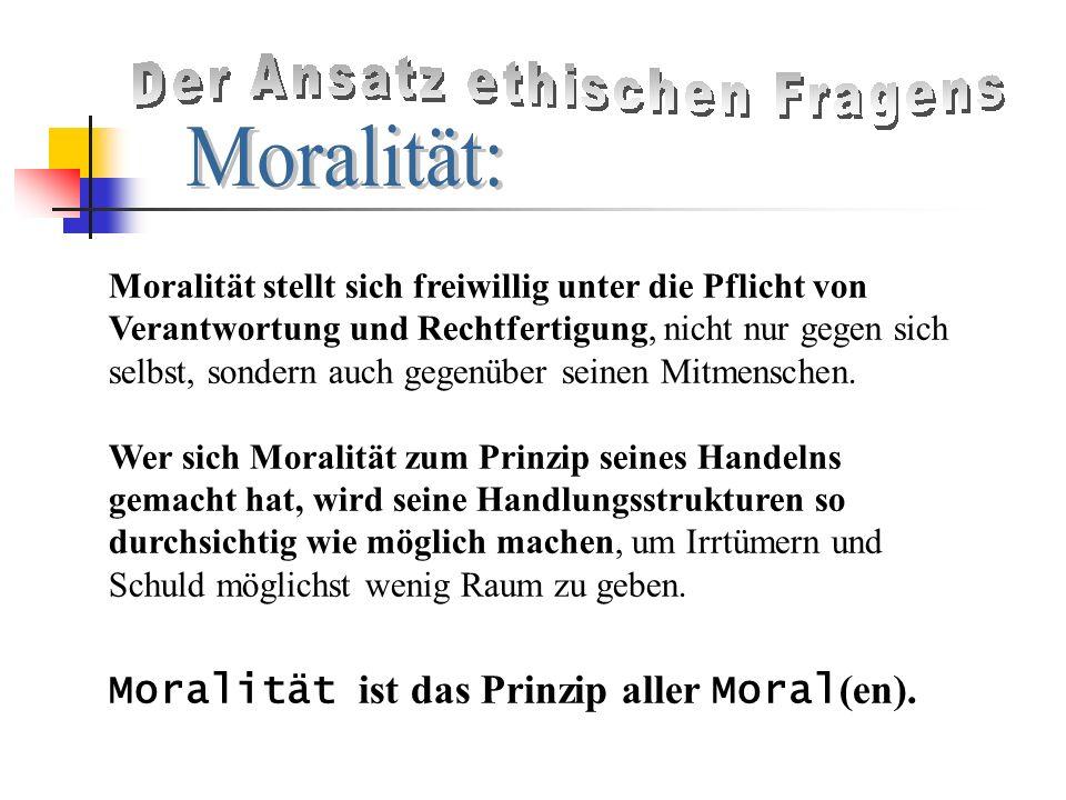 Moralität stellt sich freiwillig unter die Pflicht von Verantwortung und Rechtfertigung, nicht nur gegen sich selbst, sondern auch gegenüber seinen Mitmenschen.
