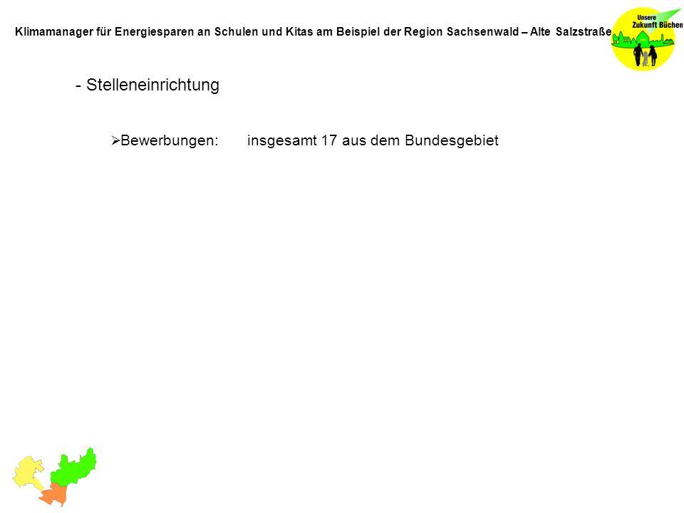 - Stelleneinrichtung Bewerbungen: insgesamt 17 aus dem Bundesgebiet Klimamanager für Energiesparen an Schulen und Kitas am Beispiel der Region Sachsen