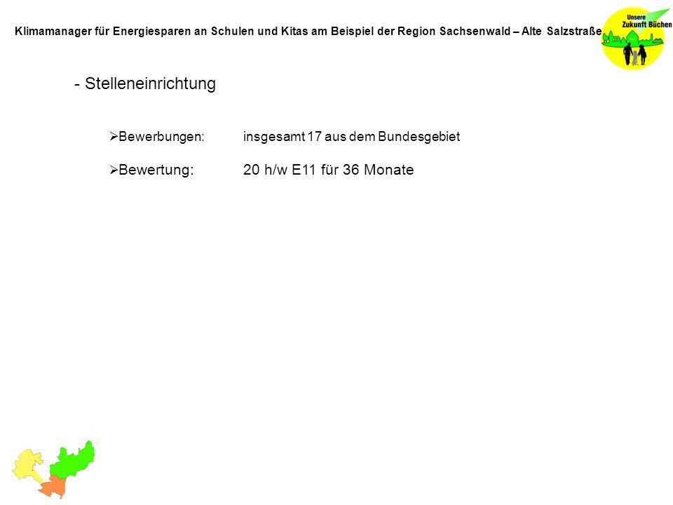- Stelleneinrichtung Bewerbungen: insgesamt 17 aus dem Bundesgebiet Bewertung: 20 h/w E11 für 36 Monate Klimamanager für Energiesparen an Schulen und Kitas am Beispiel der Region Sachsenwald – Alte Salzstraße