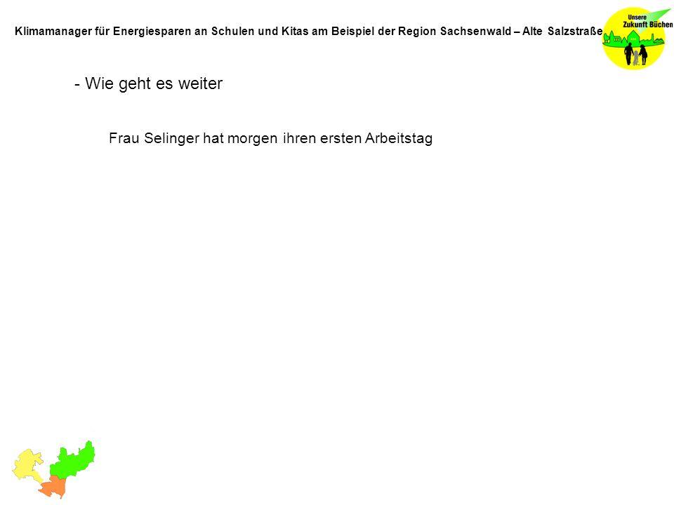 - Wie geht es weiter Frau Selinger hat morgen ihren ersten Arbeitstag Klimamanager für Energiesparen an Schulen und Kitas am Beispiel der Region Sachs