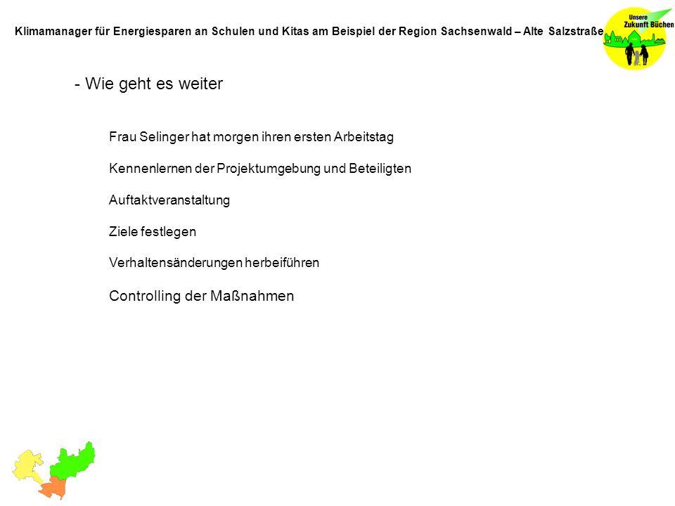 - Wie geht es weiter Frau Selinger hat morgen ihren ersten Arbeitstag Kennenlernen der Projektumgebung und Beteiligten Auftaktveranstaltung Ziele festlegen Verhaltensänderungen herbeiführen Controlling der Maßnahmen Klimamanager für Energiesparen an Schulen und Kitas am Beispiel der Region Sachsenwald – Alte Salzstraße