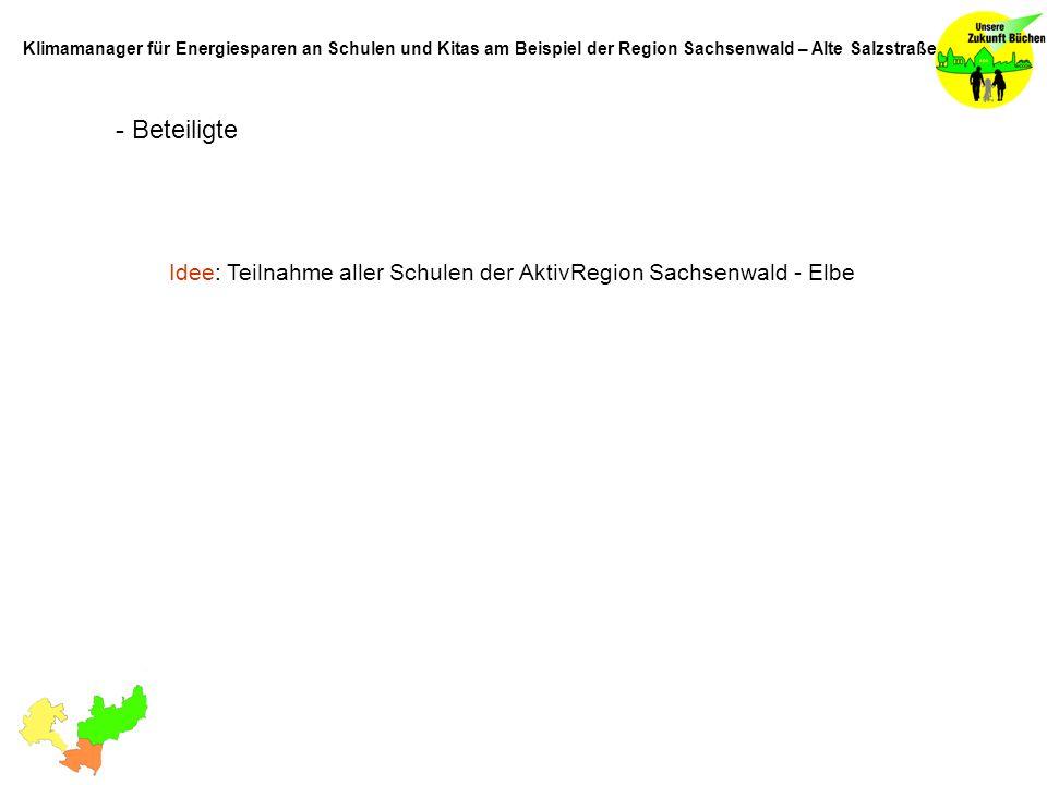 - Beteiligte Idee: Teilnahme aller Schulen der AktivRegion Sachsenwald - Elbe Klimamanager für Energiesparen an Schulen und Kitas am Beispiel der Regi
