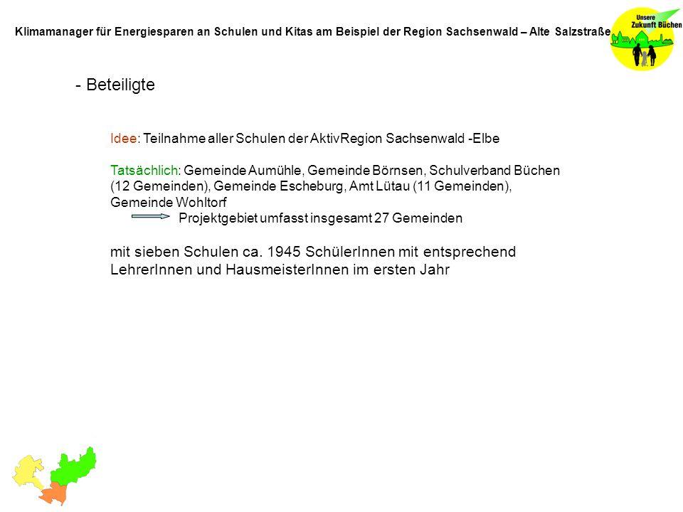 - Beteiligte Idee: Teilnahme aller Schulen der AktivRegion Sachsenwald -Elbe Tatsächlich: Gemeinde Aumühle, Gemeinde Börnsen, Schulverband Büchen (12 Gemeinden), Gemeinde Escheburg, Amt Lütau (11 Gemeinden), Gemeinde Wohltorf Projektgebiet umfasst insgesamt 27 Gemeinden mit sieben Schulen ca.