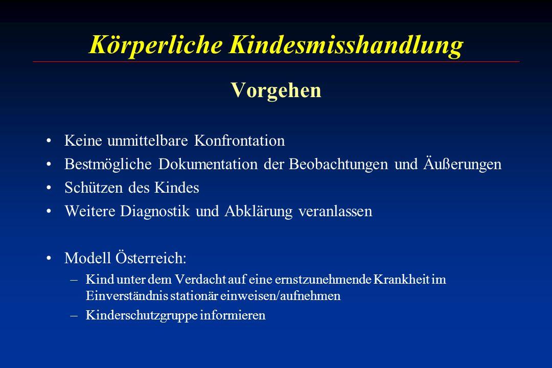Körperliche Kindesmisshandlung Vorgehen Keine unmittelbare Konfrontation Bestmögliche Dokumentation der Beobachtungen und Äußerungen Schützen des Kind